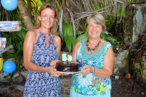 Susie and Sue and the cake Sue so kindly made.